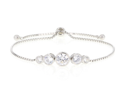 White Cubic Zirconia Rhodium Over Sterling Silver Adjustable Bracelet 3.72ctw