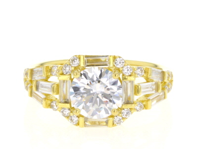 White Cubic Zirconia 18K Yellow Gold Over Sterling Silver Center Design Ring 3.59ctw