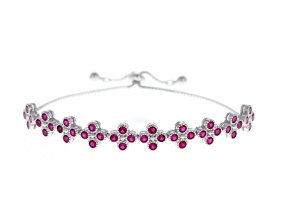 Lab Created Ruby Rhodium Over Sterling Silver Bolo Bracelet 4.00ctw