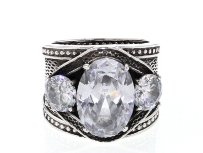White Cubic Zirconia Rhodium Over Sterling Silver Center Design Ring 12.70ctw