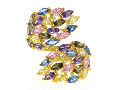 Lab Created Blue Spinel & Multicolor Cubic Zirconia 18K Yellow Gold Over Silver Cluster Ring 8.66ctw