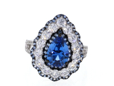 Synthetic Blue Spinel & White Cubic Zirconia Rhodium Over Sterling Silver Center Design Ring 6.32ctw