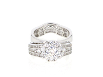 White Cubic Zirconia Rhodium Over Sterling Silver Ring With Bands 3.63ctw