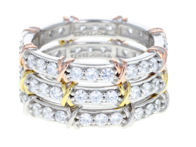White Cubic Zirconia Rhodium And 14K Yellow and Rose Gold Over Silver Band Rings Set of 3 3.74ctw