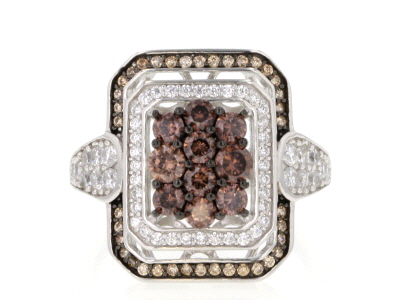 White, Mocha, And Brown Cubic Zirconia Rhodium Over Silver Ring 2.41ctw