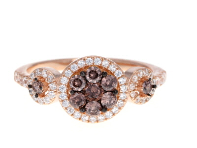 Mocha And White Cubic Zirconia 18k Rose Gold Over Sterling Silver Ring 1.28ctw