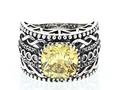 Yellow And White Cubic Zirconia Rhodium Over Sterling Silver Ring 6.63ctw
