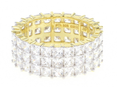 White Cubic Zirconia 18K Yellow Gold Over Sterling Silver Eternity Band Ring 11.59ctw