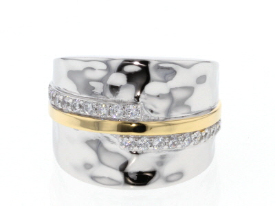 White Cubic Zirconia Rhodium And 14K Yellow Gold Over Sterling Silver Ring 0.61ctw