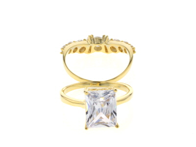 White Cubic Zirconia 18K Yellow Gold Over Sterling Silver Ring With Bands 7.09ctw
