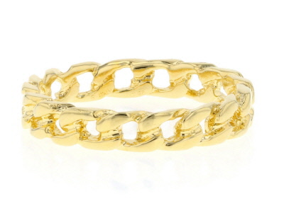 18k Yellow Gold Over Bronze Curb Ring