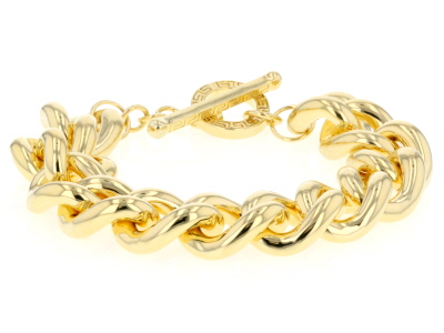 18k Yellow Gold Over Bronze Grande Curb 9.25 inch Bracelet