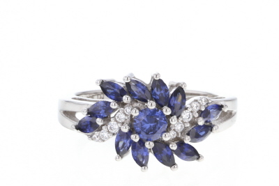 Blue And White Cubic Zirconia Rhodium Over Sterling Silver Ring 1.73ctw