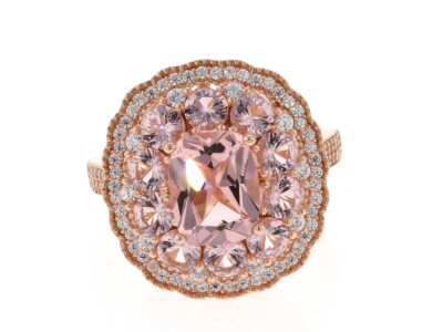 Pink Morganite Simulant And White Cubic Zirconia 18K Rose Gold Over Sterling Silver Ring 3.60ctw