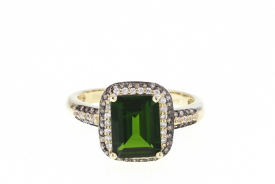 Green Russian Chrome Diopside 10k Yellow Gold Ring 2.35