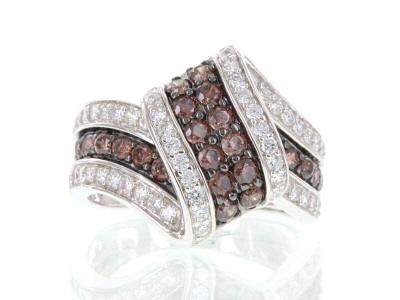 Mocha And White Cubic Zirconia Sterling Silver Ring 2.56ctw