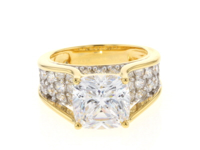 Cubic Zirconia Rhodium & 18k Yellow Gold Over Silver Ring 9.91ctw