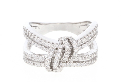 White Cubic Zirconia Rhodium Over Sterling Silver Ring 0.72ctw