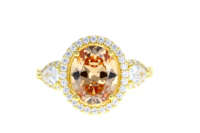 Champagne And White Cubic Zirconia 18K Yellow Gold Over Sterling Silver Ring 4.64ctw