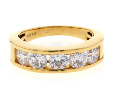 White Cubic Zirconia 18K Yellow Gold Over Sterling Silver Ring 2.90ctw