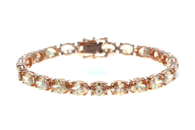 Champagne Cubic Zirconia 18K Rose Gold Over Sterling Silver Tennis Bracelet 42.63ctw