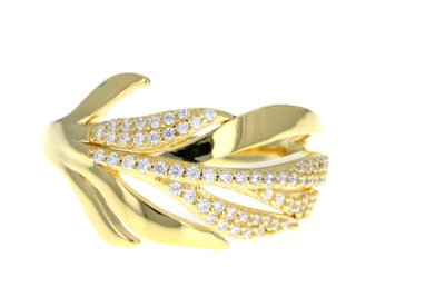White Cubic Zirconia 18K Yellow Gold Over Sterling Silver Leaf Ring 0.55ctw