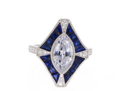 Lab Created Blue Spinel And White Cubic Zirconia Rhodium Over Sterling Ring 3.86ctw