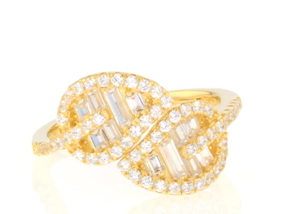 White Cubic Zirconia 18k Yellow Gold Over Sterling Silver Jewelry Set 3.68ctw