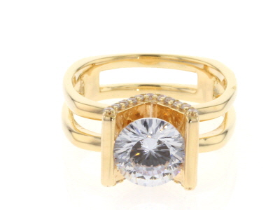 Cubic Zirconia 18k Yellow Gold Over Over Sterling Silver Ring 3.60ctw