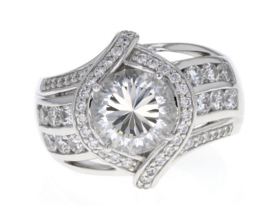 White Cubic Zirconia Rhodium Over Sterling Silver Ring 6.40ctw