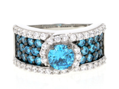 Blue And White Cubic Zirconia Silver Ring 3.78ctw