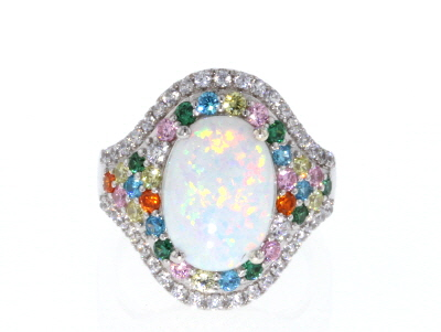 Lab Created Opal And Multicolor Cubic Zirconia Rhodium Over Sterling Silver Ring 5.36ctw