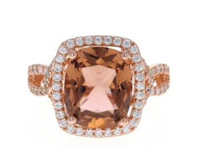 Morganite Simulant & White Cubic Zirconia 18k Rose Gold Over Sterling Silver Ring 6.40ctw