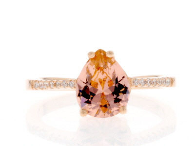 Morganite Simulant & White Cubic Zirconia 18k Rose Gold Over Sterling Silver Ring 1.77ctw