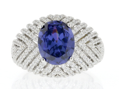 Blue & White Cubic Zirconia Rhodium Over Sterling Silver Ring 7.93ctw