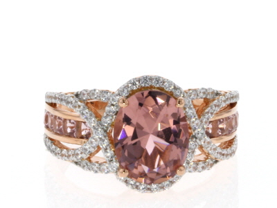 Morganite Simulant And White Cubic Zirconia 18K Rose Gold Over Sterling Silver Ring 4.13CTW