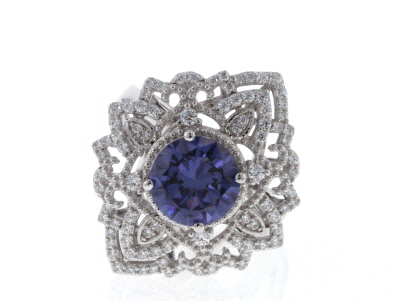 Blue And White Cubic Zirconia Rhodium Over Sterling Silver Center Design Ring 5.57CTW