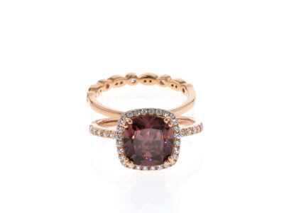Blush Zircon Simulant & White Cubic Zirconia 18K Rose Gold Over Sterling Silver Ring With Band