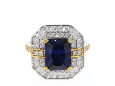 Blue And White CUbic Zirconia 18K Yellow Gold And Rhodium Over Sterling Silver 7.50CTW