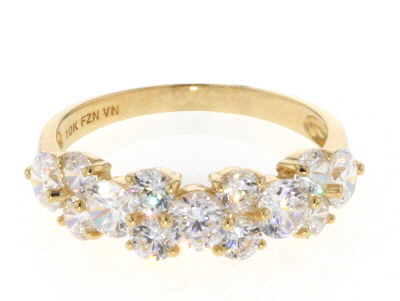 White Cubic Zirconia 10k Yellow Gold Ring 2.13ctw