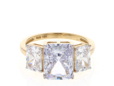 White Cubic Zirconia 10k Yellow Gold Ring 9.35ctw