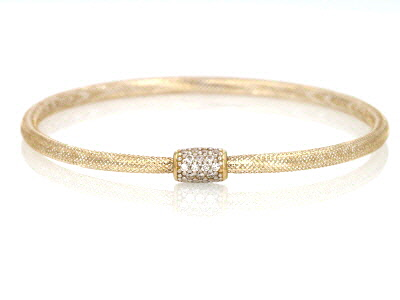 White Cubic Zirconia 10k Yellow Gold Bracelet 0.16ctw