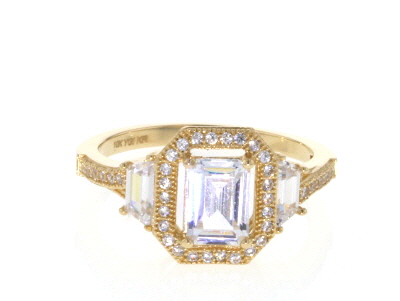 White Cubic Zirconia 10K Yellow Gold Center Design Ring 2.97ctw