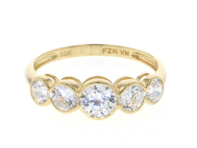 White Cubic Zirconia 10K Yellow Gold Ring 2.12ctw