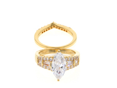 White Cubic Zirconia 18k Yg Over Sterling Silver Ring With Band 5.85ctw