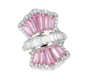 Pink and White Cubic Zirconia Rhodium Over Sterling Silver Ring 8.44ctw