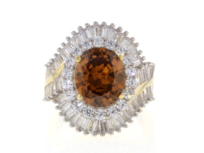 Brown and White Cubic Zirconia 18k Yellow Gold Over Sterling Silver Ring 13.24ctw