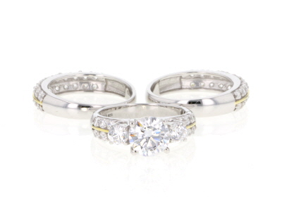White Cubic Zirconia Rhodium Over Silver & 18k Yellow Gold Over Silver Ring W/ Bands 8.31ctw