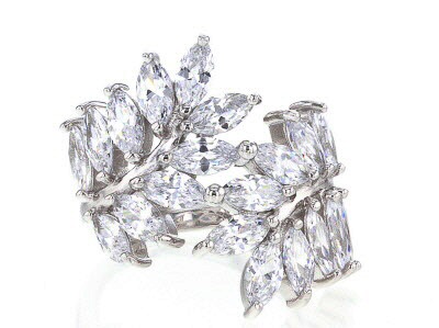 White Cubic Zirconia Rhodium Over Sterling Silver Ring 7.80ctw