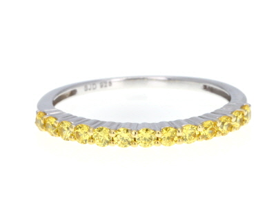 Yellow Zirconia From Swarovski ® Rhodium Over Sterling Silver Ring 0.77ctw